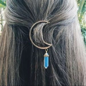 Accessories - Boho Moon Dangle Opal Hair Clip